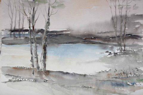 Akvarelli Aamu koivikkoisella järvellä