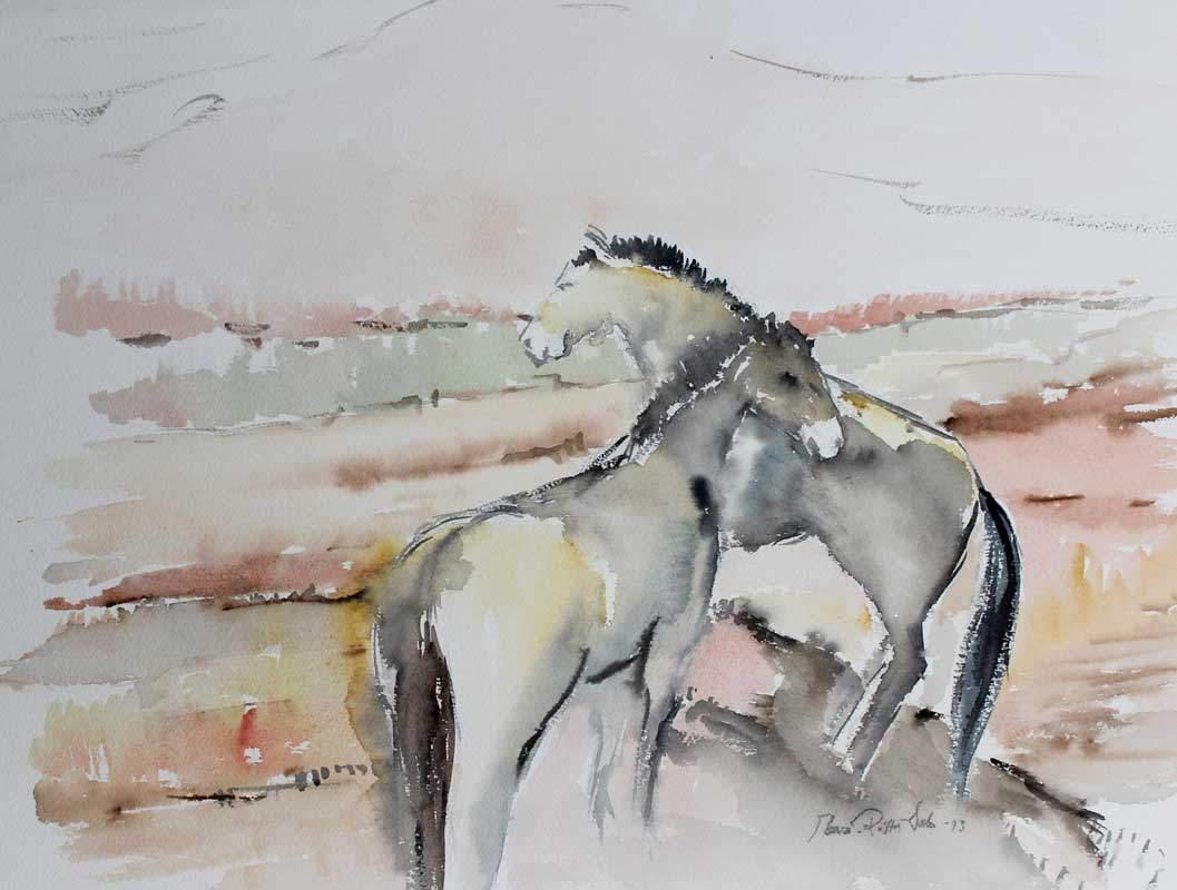 Eeva-Riitta Salo, akvarelli, Hevoset 49x62