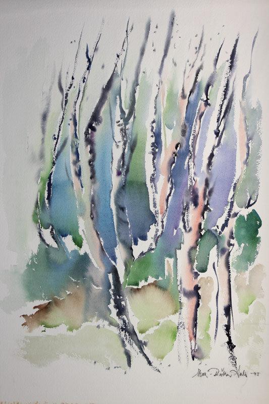 Eeva-Riitta Salo, akvarelli, Puiden elämää 62x49