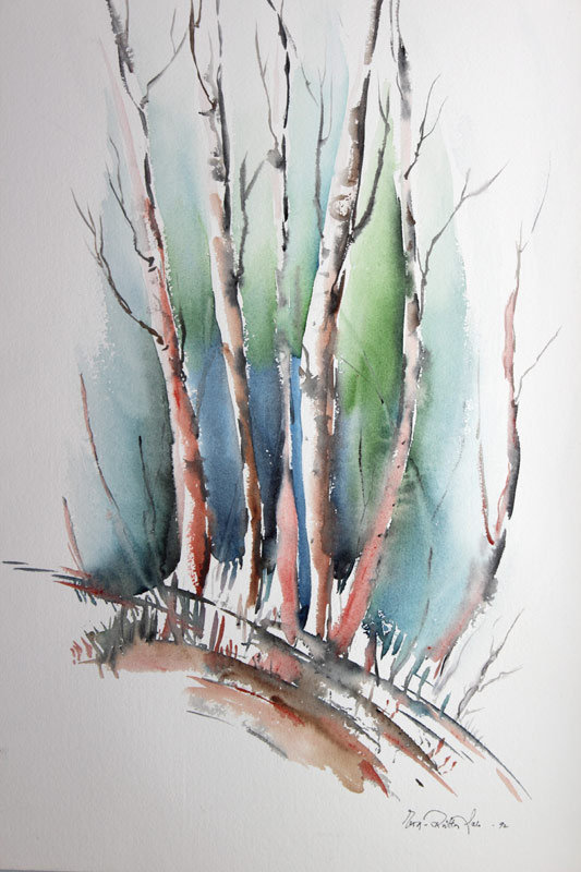 Eeva-Riitta Salo, akvarelli, Puiden katveessa 73x48