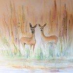 Akvarelli Peurojen kokoontuminen 49x62, lähikuva-akvarellit, Eeva-Riitta Salo
