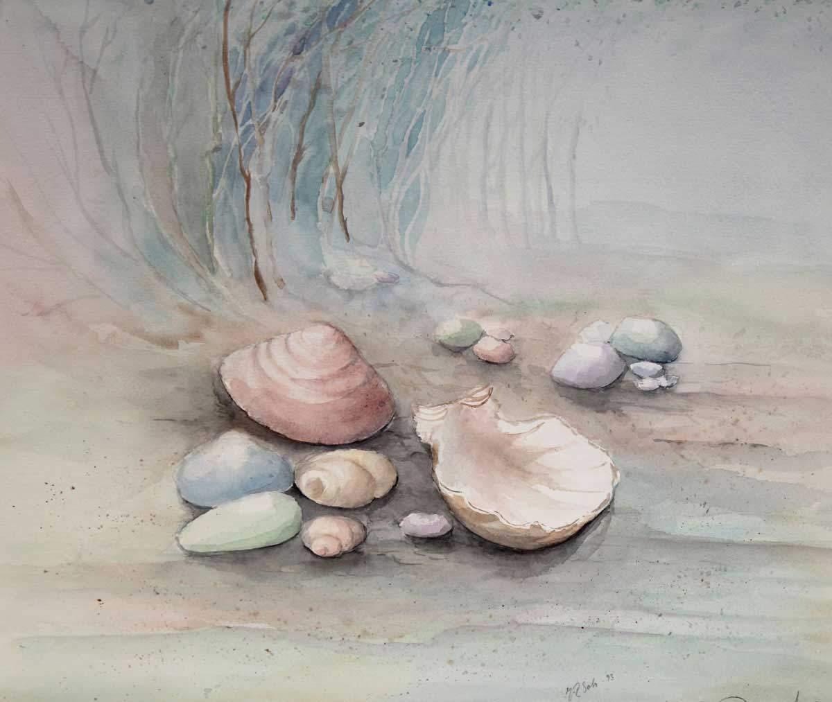 Akvarelli Rannan tuntumassa, pihakukka-akvarellit, Eeva-Riitta Salo