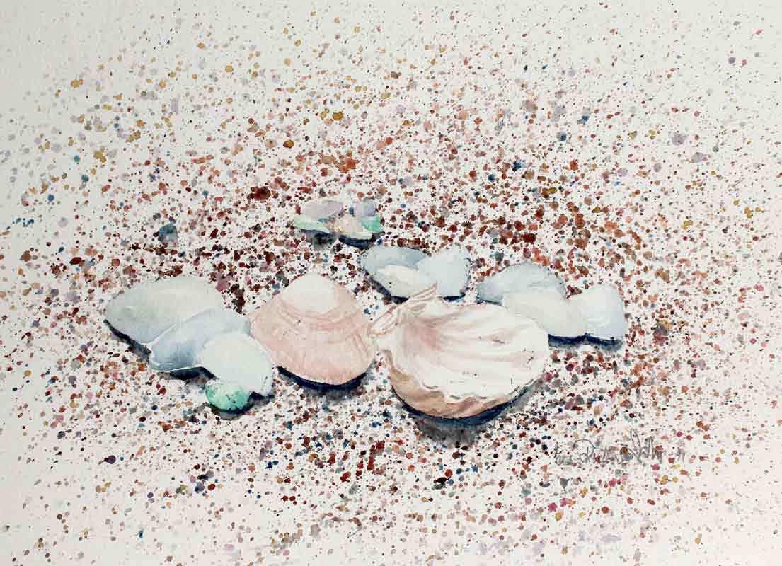 Eeva-Riitta Salo, akvarelli, Simpukat hiekalla 25x34