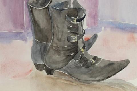 Eeva-Riitta Salo, akvarelli, Saapikkaat 33x27