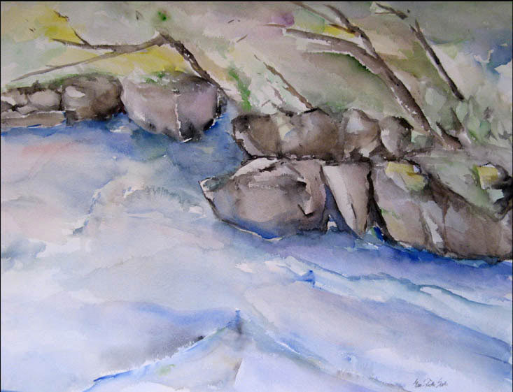 Akvarelli Vesiojain tykönä 50x63, lähikuvaakvarellit, Eeva-Riitta Salo