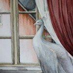 Hiljaa yöllä, akvarelli, Heidi-Maria Salo