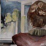 Yöllä, akvarelli, Heidi-Maria Salo
